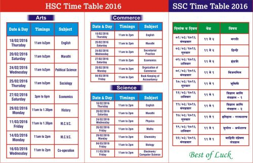 HSC and SSC Time Table