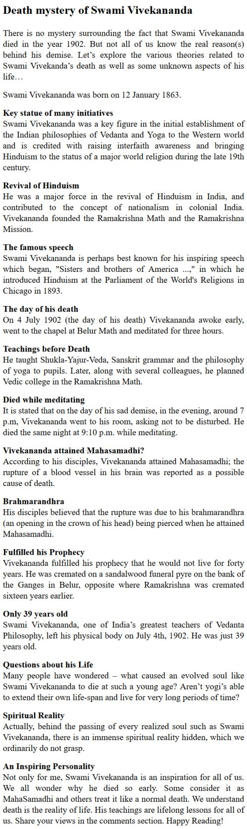 Cause of death of Vivekananda