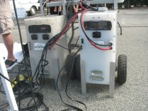 two 12 volt battery backup systems being charged by the sun