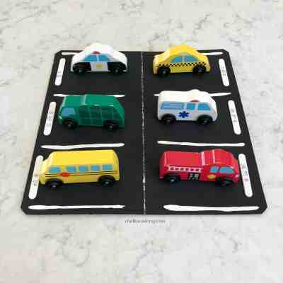 Parking Lot Craft and Toy Car Matching Activity