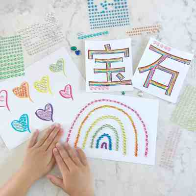 Fine Motor Activities with Jewel Stickers