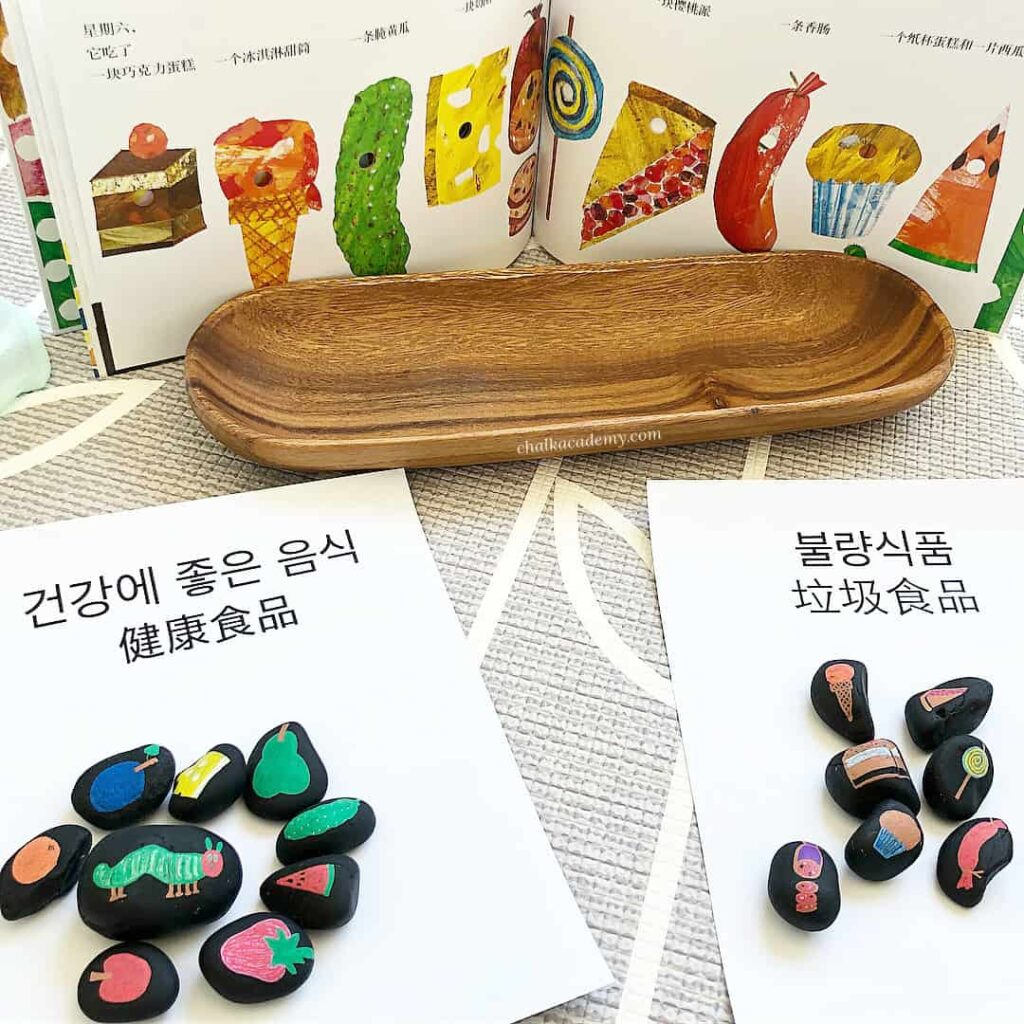 The Very Hungry Caterpillar Story Stones - Bilingual Book-Based Activity in Chinese & Korean