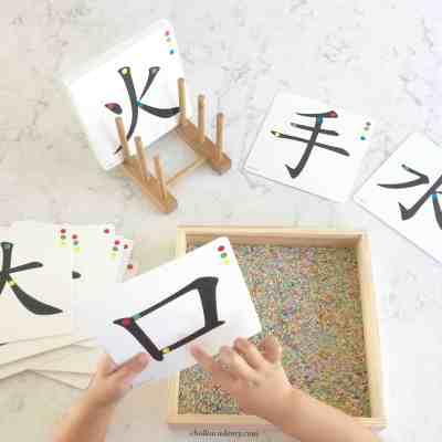 Montessori Chinese Stroke Order Sandpaper Cards 汉字笔画砂纸板