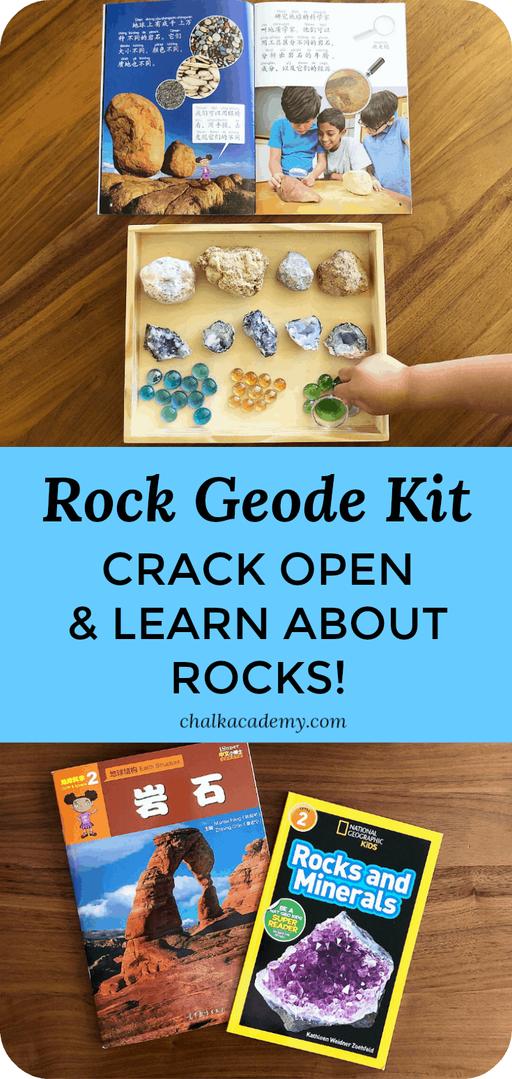 Geode kits are a fun way to learn learn about rocks! Kids will love to watch them crack them open and explore the inside with great books about rocks!