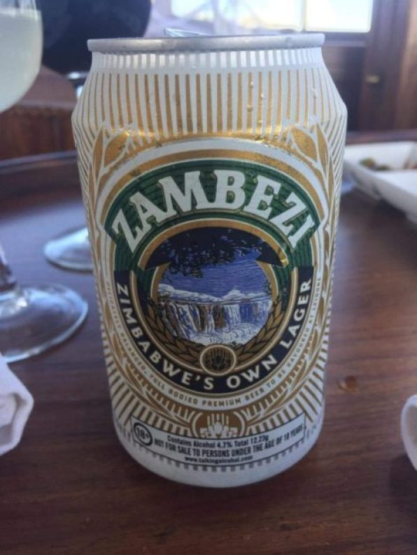 Zimbabwe's finest Zambezi beer Zambezi river cruise