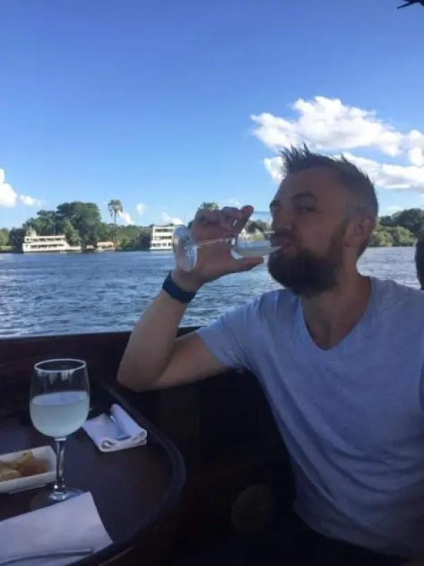Me and the homemade Lemonade aboard the Zambezi river cruise
