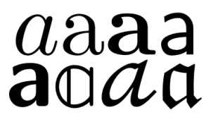 Letter a in eight variants