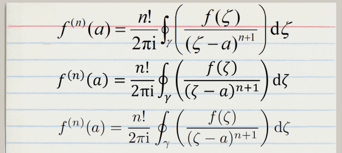 Cauchy Integral Formula In Three Fonts