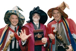 From left to right: Ian Stewart, Terry Pratchett and Jack Cohen, the authors of The Science of Discworld. Cohen and Stewart are being made honorary wizards at Unseen University during the award of an honorary degree to Terry Pratchett by the University of Warwick.