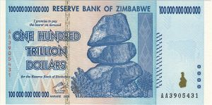 $100 trillion note from Zimbabwe