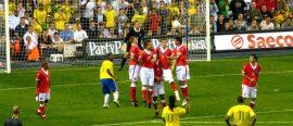 Football free-kicks… taken by Newton