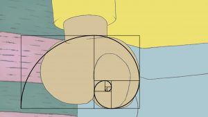 A screenshot from the cartoon Hey Arthur, showing the protagonist with a clenched fist. Over the top of his hand, a logarithmic spiral based on the golden ratio has been overlayed.