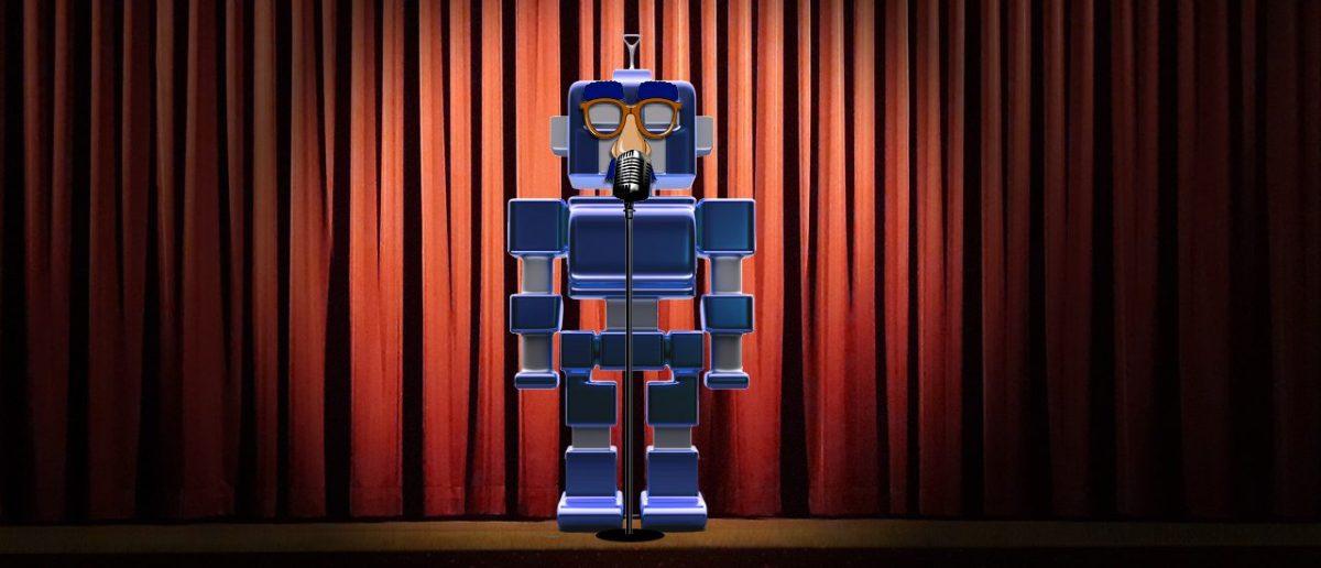 Robot telling jokes