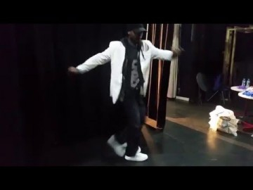 Challan Carmichael - Ladybridge High School, back stage warm up. Step by Step Schools Tour