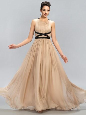 Floor-length A-line Criss-Cross back dress