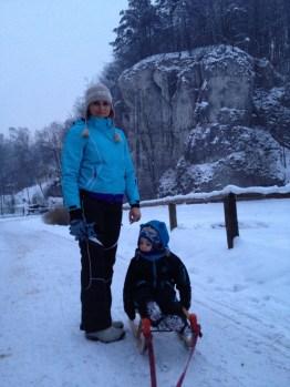 dolina Prądnika jest idealnym miejscem na zimowe sankowanie.