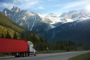 truck, road, shield