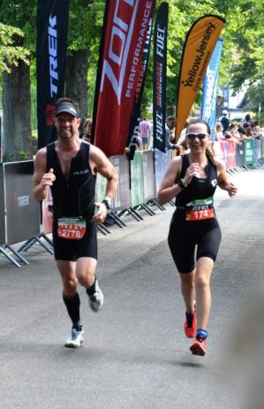 Sprinting and smiling finish