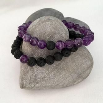 Amethyst and Lava couple's bracelets.