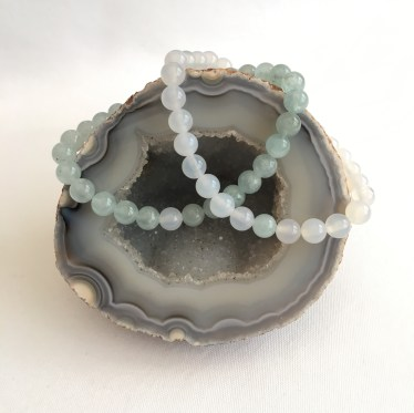 Aquamarine and White Agate couple's bracelets.