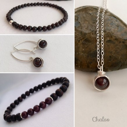 January birthstone jewellery featuring Garnet. Birthstone jewellery makes a great gift. I make birthstone jewellery for each month of the year with genuine gemstone beads.