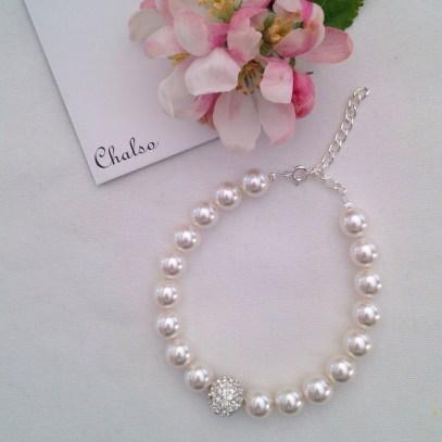 White Glitter ball bracelet