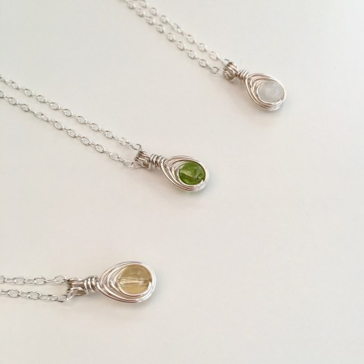 Tiny birthstone pendants, made as a custom order for three flower girls. Citrine, Peridot and Moonstone with Sterling silver.