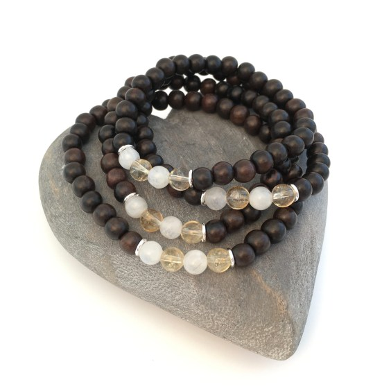 Tiger ebony with Moonstone, Citrine and Sterling silver. Made for a family.