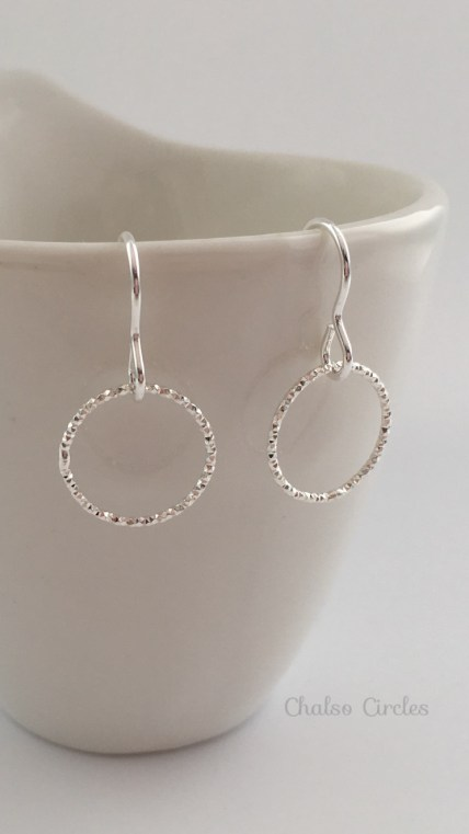 """Love you forever"" Single Circle, Sterling silver earrings. A thoughtful gift for your girlfriend, fiancé or daughter."