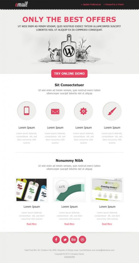 Present your strategy and future actions with this futuristic design with waves in the background and vivid colors. 900 Free Responsive Email Templates Editable Without Coding Download In Html
