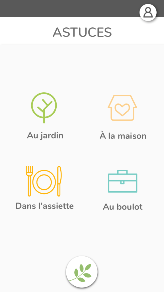 Écran listant les catégories d'astuces - App l'Astuce Verte
