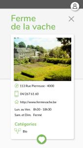 Écran présentant une ferme locale - App l'Astuce Verte