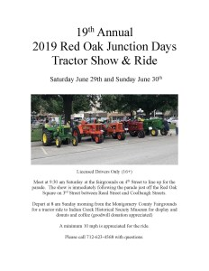 Junction Days Tractor Show and Ride Poster 2019