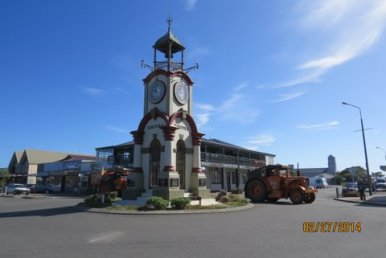Tractor passes the Hokitika clock