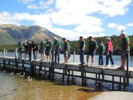 Trekkers at Lake Rotoiti jetty