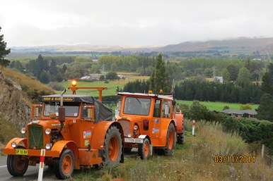 Tractors leaving Kurow