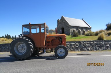 The Honner's tractor at the church