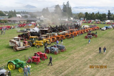 Bird's eye view of the tractors & steam engines