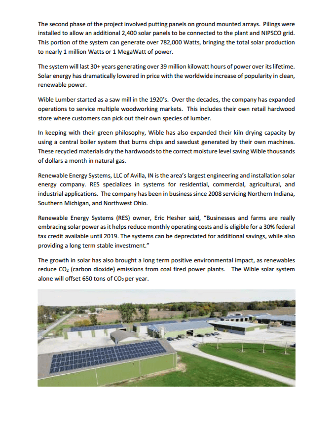 Renewable Energy Sytstems Press Release November 2016