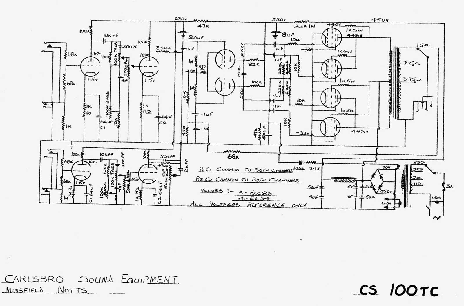 Carlsbro Cs100 T C Amp Schematic