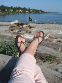Sitting in Cadboro Bay at DHSI, June 2011. This was an academic conference! And also my birthday! What was I thinking? Plastic sandals (also better for the beach than a conference....) from Old Navy.