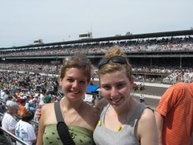 At the Indy 500 in 2008 with Lisa. Trying to avoid tan lines!