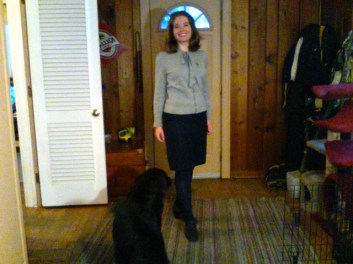 Gray sweater with buttons, puffy sleeves, tie neck, Goodwill, fall 2012. Merona navy pencil skirt with gold metallic detail, Target clearance, March 2013. Navy Exhilaration tights, Target, March 2013. Gray high heeled suedish oxfords, Target clearance, January 2012.