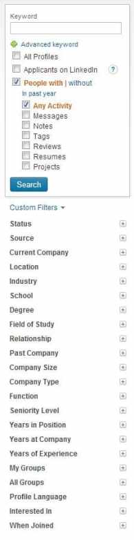 LinkedIn Recruiter - Search Criteria