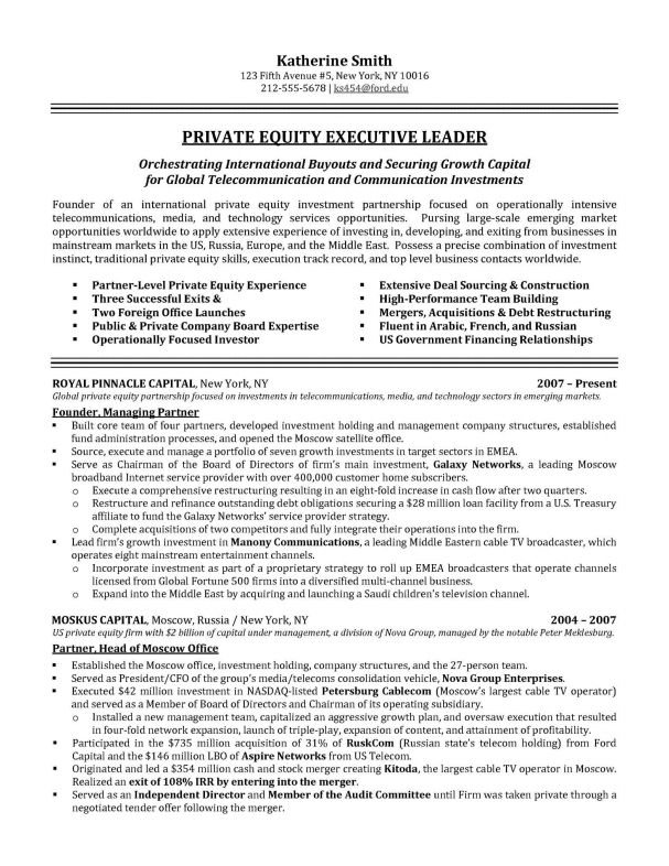 Financial Director Private Equity Executive Resume Sample Executive Resume  Samples  Private Equity Resume