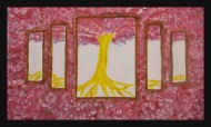 Full Bloom - 20x12 Acrylic, by Chloe Cho '14 - My spiritual piece represents where I am in my journey. The bright yellow tree in the center of the set of mirrors, or panels, depicts my personal image of my growth. Outside the panels are overflowing flowers from the tree that show the development I have experienced and personal surprise about going beyond my own expectations.