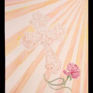 His Presence - 11x16 Acrylic, by Taylor Dempsey '15 - This piece was inspired by my Catholic faith. The cross was a gift from my my parents upon the sacrament of Confirmation. This was a special moment in my life because I was committing myself to my faith and strengthening my bond with God. The red carnation symbolizes love and this shows my love for God and the relationship that I share with Him. Lastly, I have the 9 beams of sunlight that symbolize the Holy Spirit. He guides, and is with me in all times, through my spiritual journey in life