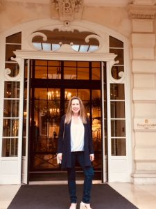Eileen Callahan of Champagne Travels at the luxurious Shangri-La Hotel in Paris France