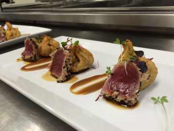 Ahi tuna with peanut sauce