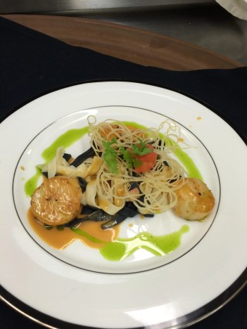 Squid ink pasta with sea scallops